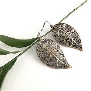 🍃 Brass Leaf Earrings